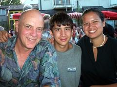 Bob, Luke and Becky strike a pose at Stuttgart-Feuerbach's wine festival
