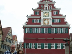Bill and Laverne stand next to the Esslingen town hall