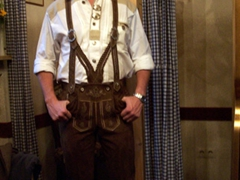 Robby looks super awesome in his lederhosen, a beer drinking must!