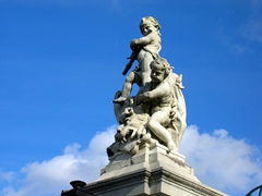 There are numerous detailed statues such as this one atop Germany's largest baroque palace, the Ludwigsburg Palace