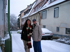 Enjoying the fresh blanket of snow outside our Sindelfingen home