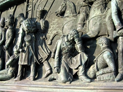 "Relief of ""The storming of the town of Sens, 11 February 1814""; Jubilee Column for the 25th anniversary of King Wilhelm I's accession and his 60th birthday; Stuttgart"