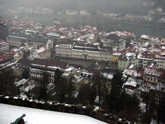 Looking over downtown Heidelberg as seen from the castle on a snowy, winter's day
