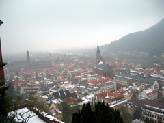 On a clear day, the Heidelberg Schloss offers fine views of the surrounding area. Today, we have to settle for a romantic, hazy view