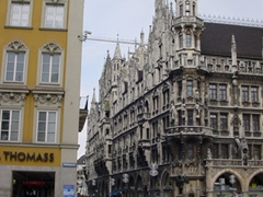 Corner view of the massive Marienplatz (Mary's Square), which is a central square in the heart of Munich
