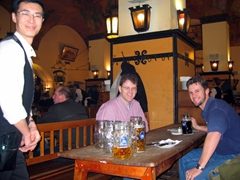 Jim and Robby sport cheesy grins after several liters of beer; Hofbrauhaus