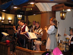 Another view of the Hofbrauhaus' brass instrument Oom-pah Band, playing lively Bavarian Music