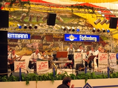 A large Oom-pah band entertains the crowded tent at the Walter Weitmann Fest Tent (5000 seat capacity...although countless patrons take to tabletop dancing after a few beers)