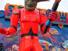A massive robot giant thrills the crowds at the Bad Canstatt Festival