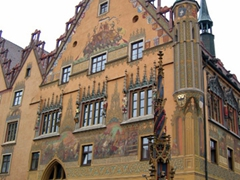 Ulm's rathaus (town hall) was originally built in 1370. Later, in the mid-16th Century, beautiful murals were applied to the exterior of the building