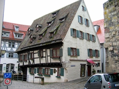 View of Schiefes Haus (crooked house), a 16th Century house converted into a modern day hotel, located in the fishermen's quarter; Ulm