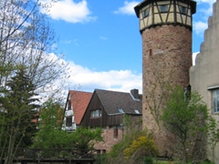 View of Michelstadt's city wall which surrounds the entire downtown