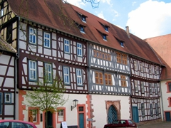 The brightly hued half-timbered buildings add so much character to Michelstadt's downtown area!