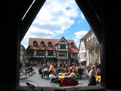 View of Michelstadt's town square, as seen from the stilts of the Town Hall