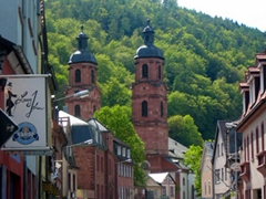 The town church of St Jakobus is a great reference point when wandering around Miltenberg