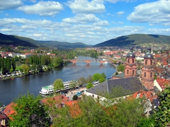 View of the Main River as seen from the hilltops of Miltenberg