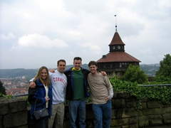 Christin, Larry, Nate and Robby visit the Dicker Turm (Big Tower) of the Esslingen Castle