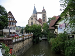 Esslingen am Neckar is one of the few old towns in Germany that survived WWII unscathed. In the background, the Protestant Parish Church of St Dionysius' two towers are connected by a bridge