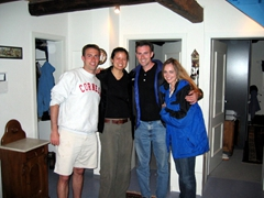 Its always great to see friends we used to serve with in the army! Larry, Becky, Nate and Christin hang out in our Sindelfingen home