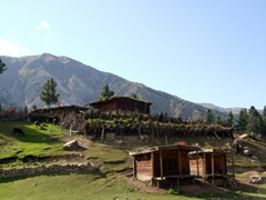 Summer dwellings for locals at Fairy Meadows