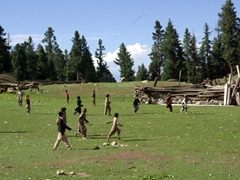Even though the boys are barefoot, they run like the wind and play an aggressive game of polo; Fairy Meadows