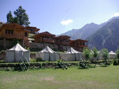 Two choices of lodging at Raikot Sarai...wooden cabins or tents