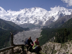 Striking a pose beneath the mighty North Face of Nanga Parbat