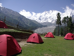 Camping is a viable option for those on a shoe string budget at Fairy Meadows