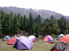 First, a brief stop at Fairy Meadows Cottages, where dozens of tents were erected in the front field
