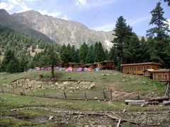 A view of our night's lodgings at Fairy Meadows Cottages