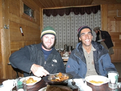 Robby and Zia dressed in warm gear. It gets cold up at Fairy Meadows at night