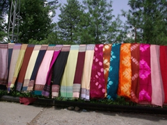 Colorful scarves for sale; Murree roadside