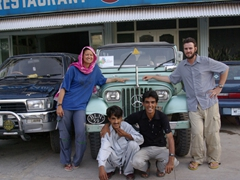 Vertical Explorers gets rave reviews from us in organizing our trip! Here we pose with our second jeep, second driver (Jan), and second guide (Zia) outside of Usmania, our Rawalpindi hotel