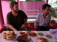 Robby and Saeed prepare to dig into our delicious Afghan lunch; Bat Khela restaurant