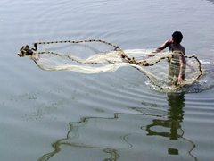 A fisherman tries his luck; Bat Khela