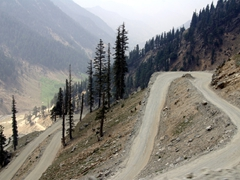 A snapshot of the road leading down towards Chitral (as seen from the top of the Lowari Pass)