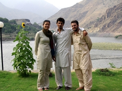 Becky, Prince Faisal and Robby strike a pose overlooking the Chitral River