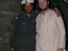 Robby and his new found friend, a security guard at Birir Valley