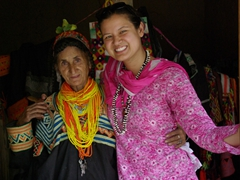 Becky got a warm hug from this Kalasha lady after buying a trinket from her store