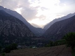 View of Rumbur Valley at sunset