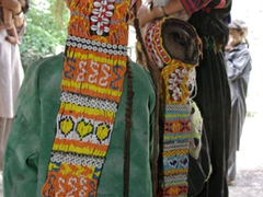 Detail of an ornate headdress similar to those that all Kalasha girls and women wear