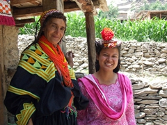 Becky meets a Kalasha village elder whose image has appeared in numerous Kalasha postcards