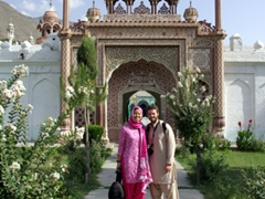 We asked Zia to take a photo of us before the entrance portal of Shahi Masjid; Chitral