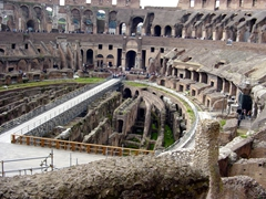 The Roman Colosseum could seat 55,000 spectators who came to watch gladiators duel amongst themselves and wild animals. The games were extremely popular with the public