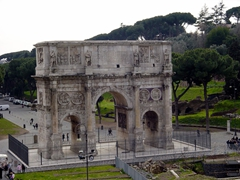The 21 meter high Arch of Constantine is the largest of the remaining Roman Arches. It stands near the Colosseum, and was built in 315 AD to commemorate Constantine's surprising victory over the numerically superior Maxentius at the Battle of the Milvian Bridge
