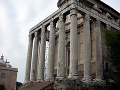 The Temple of Antoninus and Faustina was built in 141 AD by Emperor Antoninus Pius to honor his deceased wife Faustina; Forum Romanum
