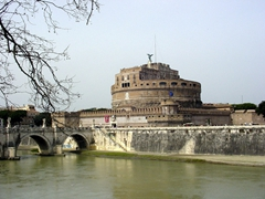 The Castel Sant'Angelo was built in 123 AD by Emperor Hadrian as a mausoleum by the Tiber River. It was later converted into a fortified castle to be used by the papacy as a place of refuge