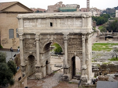 Arch of Septimius Severus, one of the best preserved monuments in the Roman Forum. This is the view of the arch as seen from Capitoline Hill