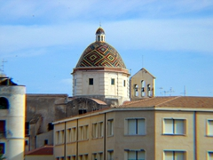 The San Michele (St. Michael) church's colorful dome; Alghero