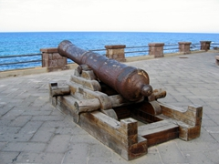 An old canon on display at San Giacomo bastion; Alghero